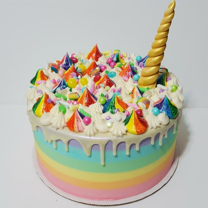 las ideas mas originales de tartas caseras para un cumpleaños niña, tarta unicornio en los colores del arco iris fotos