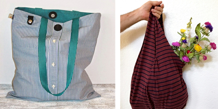 bolsos para usar comi macetas colgantes, originales ideas de bolsas reutilizables para frutas y verduras, fotos de bolsas hechas de tela