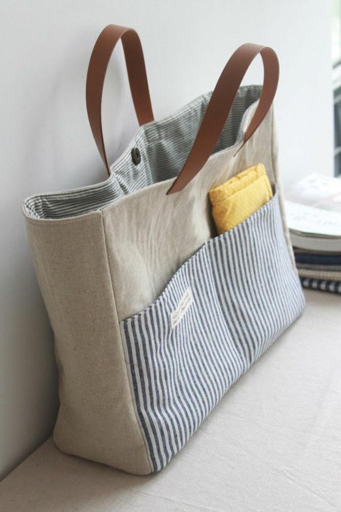 bonito bolso en gris y azul para ir a la oficina, distintos ejemplos de bolsos DIY para hacer en casa, bolsas reutilizables para frutas y verduras