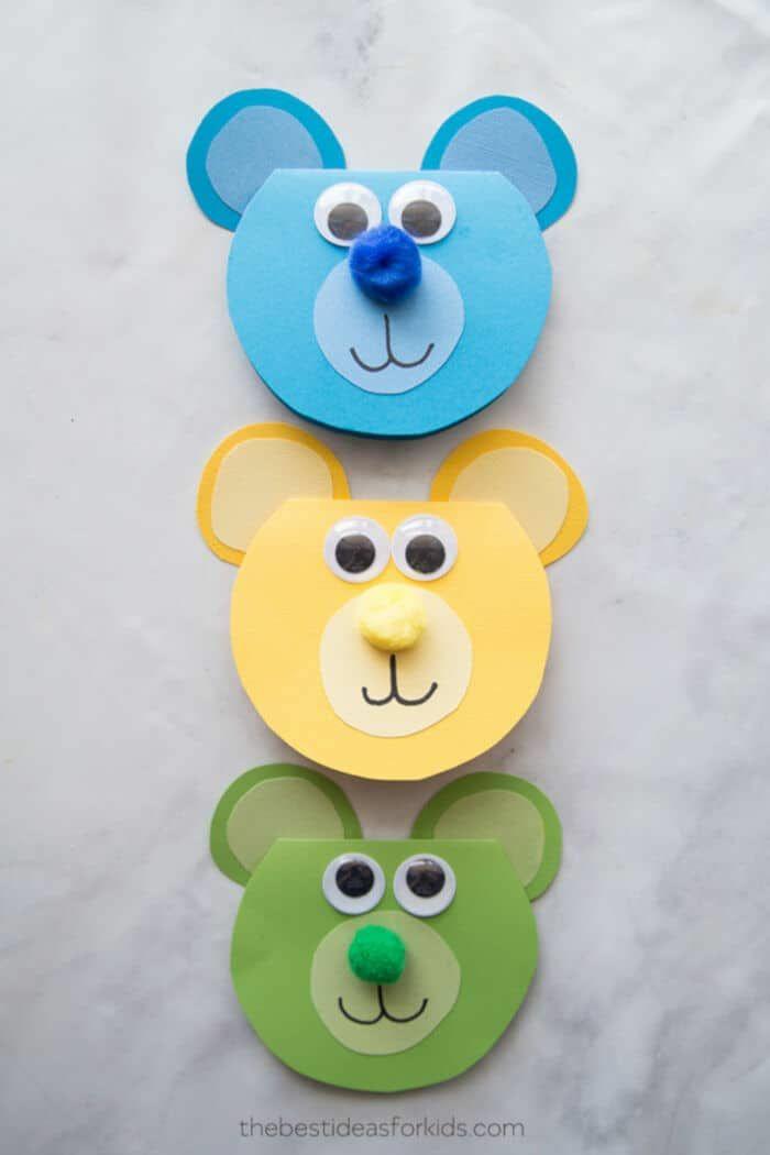 fotos de manualidades para regalar originales, tarjetas en forma de osos coloridas, fotos de manualidades de papel