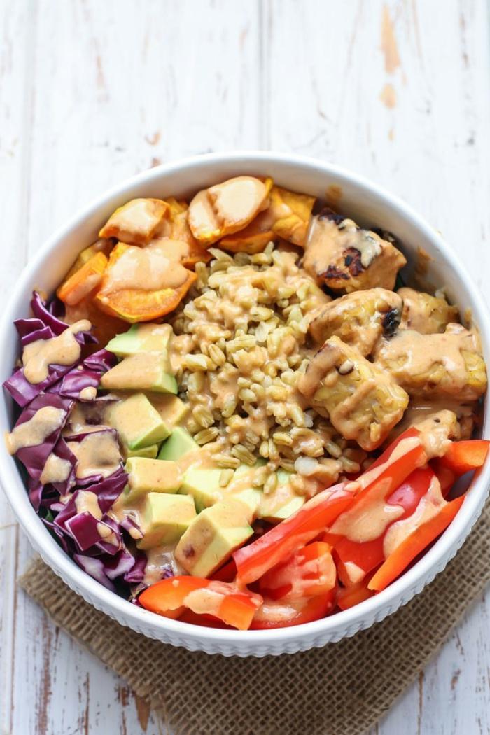 las mejores ideas de comidas con proteinas, bol con pollo, batatas, col roja, tomates, aguacate y aderezo super rico