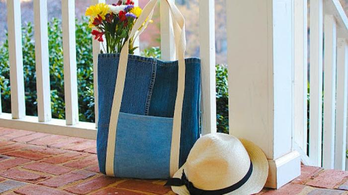 como hacer un bolso de tus vaqueros viejos, bolsas reutilizables para frutas y verduras, bolso de trozos de denim