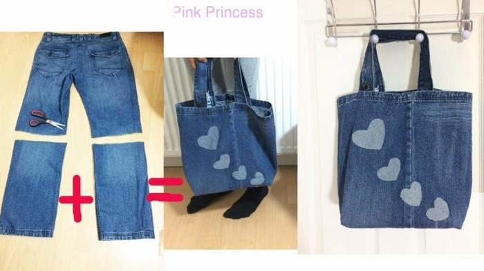 como reutilizar tus vaqueros viejos para hacer un bolso DIY, originales ideas de bolsos de denim para hacer en tu casa