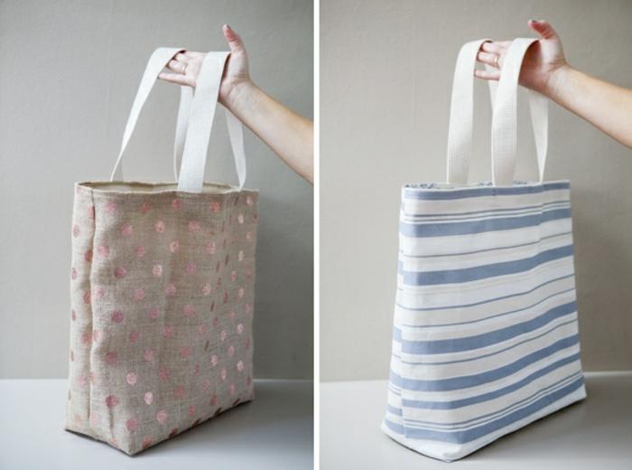 ideas originales de bolsas de tela, manualidades de tela fáciles de hacer, bolsas reutilizables para frutas y verduras