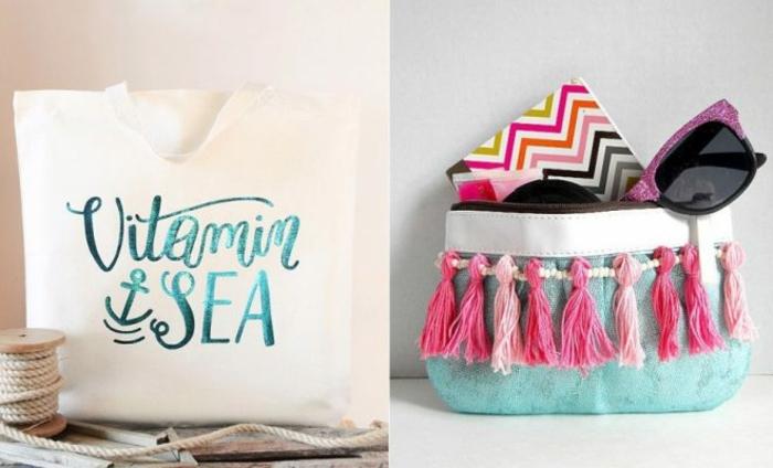 como hacer un bolso de mano para llevar en verano, bolsas reutilizables super bonitas, fotos de bolsas DIY originales