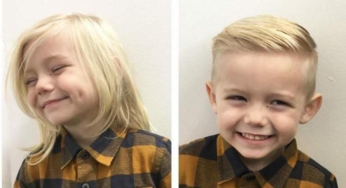 adorables propuestas de cortes para niños pequeños, foto antes y después, ideas sobre como cortar el pelo de tu pequeño en casa