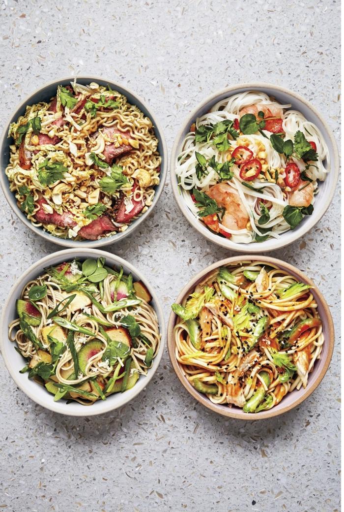 cuatro propuestas de platos con noodles, recetas sanas para cenar y ricas, las mejores ideas de platos ligeros y equilibrados