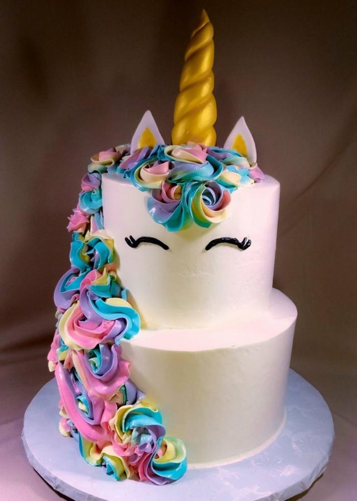 tarta unicornio fondant en bonitos colores, decoraciones para tartas con colorante alimentario, ideas de tartas caseras