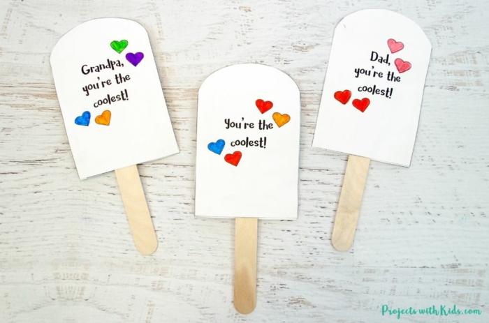 fantasticas ideas de tarjetas DIY para el dia del padre, postales para regalar en forma de helado, fotos de tarjetas