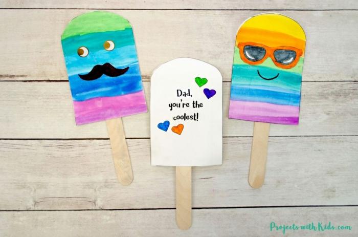 eres el mejor papa, tarjeta helado original, fotos de manualidades con cartulina para hacer en casa, originales ideas DIY