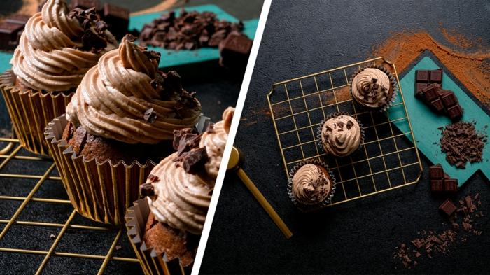 ideas de recetas de postres faciles, como hacer magdalenas de chocoalte neggro y cacao con glaseado, fotos con ideas de recetas