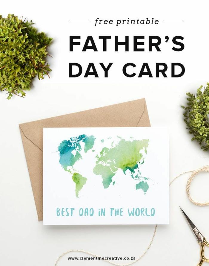 fascinantes ejemplos de tarjetas DIY personalizadas, el mejor papa del mundo, tarjeta mapa del mundo, fotos de tarjetas