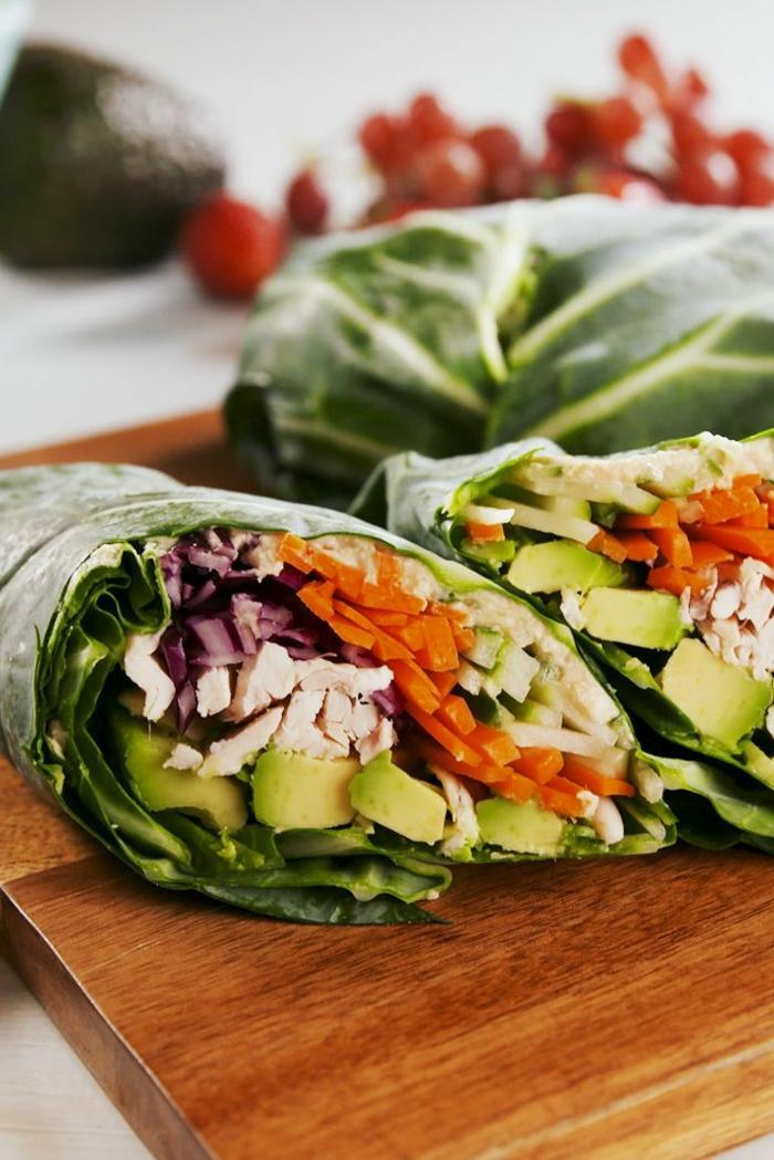 rollos de primavera con aguacate, pollo, col y zanahorias, recetas de cocina faciles y sanas paso a paso, recetas con verduras