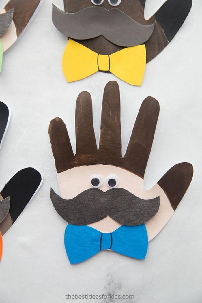 regalo DIY super original, regalos para el dia del padre manualidades, tarjetas en forma de mano originales y coloridas