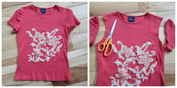ideas fáciles y rapidas sobre como hacer bolsos de ropa vieja, blusas en color rosado con mangas cortadas para hacer una bolsa