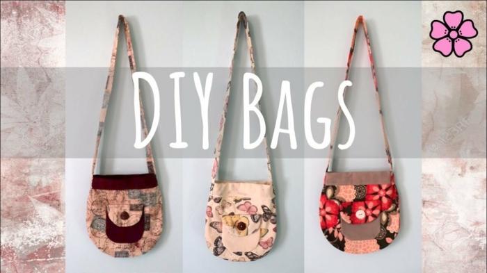 tres ejemplos de bolsos DIY para regalar, ideas sobre manualidades faciles y rapidos, que hacer con la ropa vieja