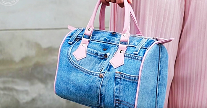 ideas para reciclar ropa, bonito bolso a mano hecho de tela de denim, ideas sobre que hacer con tus vaqueros viejos