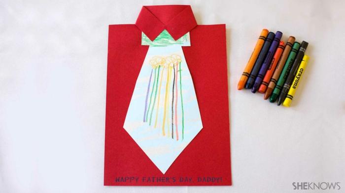 tarjeta dibujo en forma de camisa con corbata, lapices de color, regalos para el dia del padre manualidades en fotos