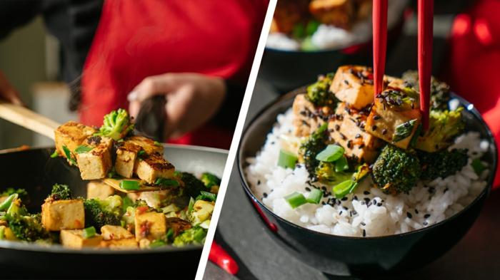 geniales ideas de platos que puedes llevar al trabajo, recetas veganas y vegetarianas, plato con arroz, tofu y vegetales