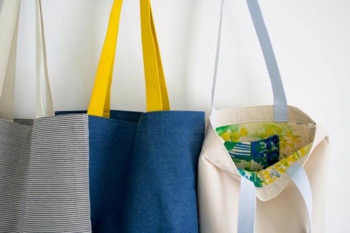 bolsas de tela coloridas y fáciles de hacer en casa, fotos de bolsas DIY originales, manualidades con reciclaje ideas