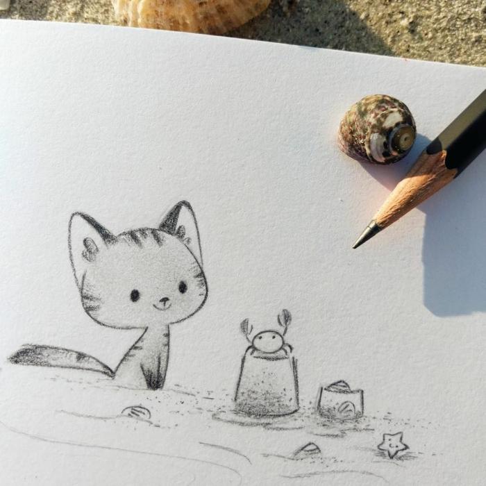 geniales ideas de dibujos kawaii para aprender a dibujar, pequeño gato, dibujos de animales rápidos y faciles para hacer en casa