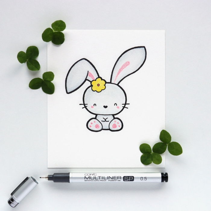dibujo de conejo original y bonito, ideas de dibujos kawaii para colorear, fotos de dibujos de animales tiernos y bonitos