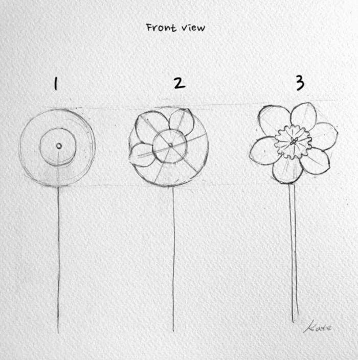 dibujo flor en tres pasos, ideas de dibujos sencillos y faciles de hacer, dibujos de cosas de primavera inspiradoras en fotos