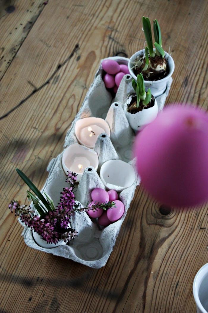 centro de mesa DIY con hueveras, manualidades en 5 minutos originales, decoracion casera para la mesa bonita, ideas de manualidades