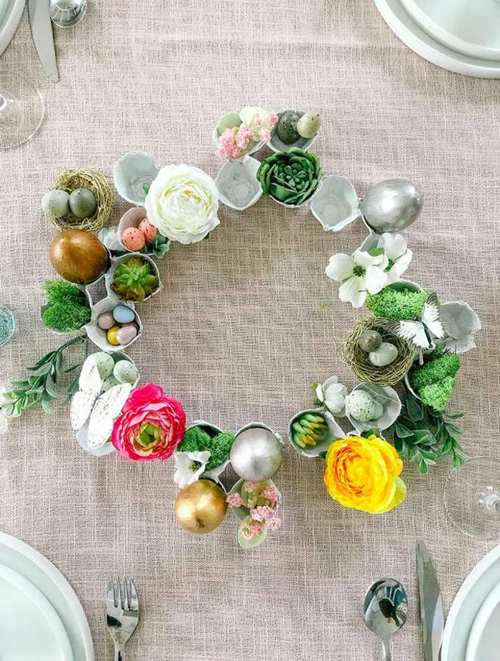 decoracion para la mesa bonita, manualidades en 5 minutos, fotos de manualidades caseras oriignales, decoracion con hueveras