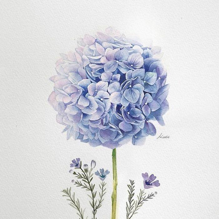 preciosos dibujos para hacer en casa, bonitas flores en color azul preciosas, imagenes para dibujar que inspiran