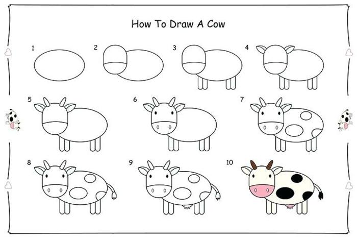 fotos con tutoriales de dibujos chulos de animales, ideas de dibujos kawaii faciles, actividades de primaria en casa paso a paso