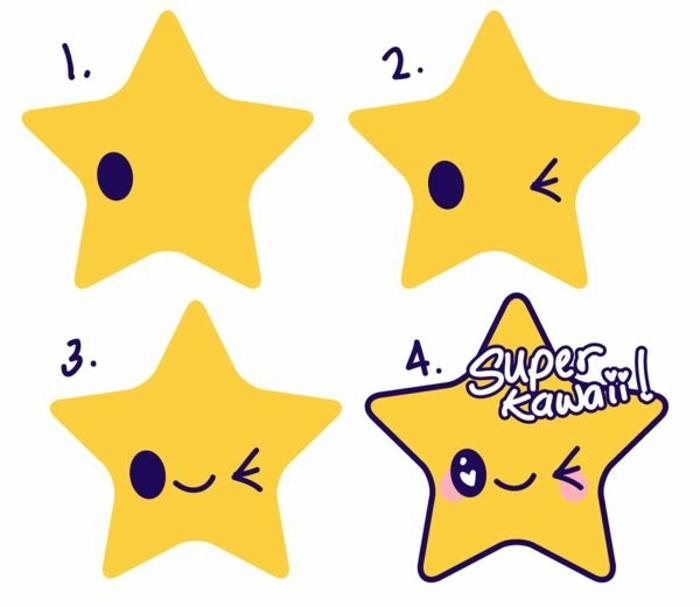 cuatro pasos sobre como dibujar una estrella kawaii, dibujos kawaii paso a paso, originales ideas sobre como dibujar cosas tiernas