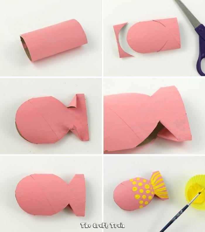 fotos de manualidades para hacer en casa con reciclaje, como hacer peces divertidos de tubos de carton de rollos de papel