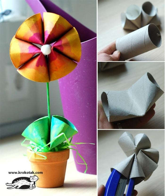 como hacer manualidades, flores de tubos de carton, originales ideas de manualiadades faciles, manualiades de cartulina