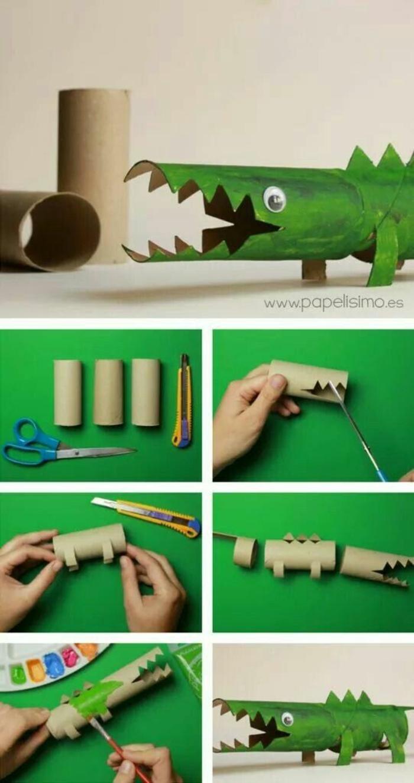 manualidades para niños de primaria con carton originales, como hacer un cocodrillo de rollos de papel higienico paso a paso