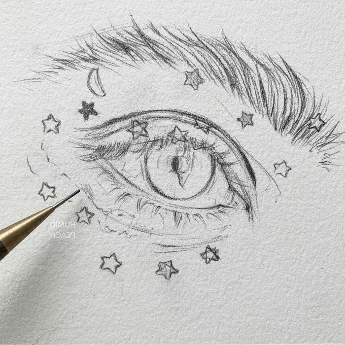 como dibujar un ojo, magnificiads ideas de dibujo a lapiz en estilo tumblr, dibujos tumblr originales y faciles de hacer