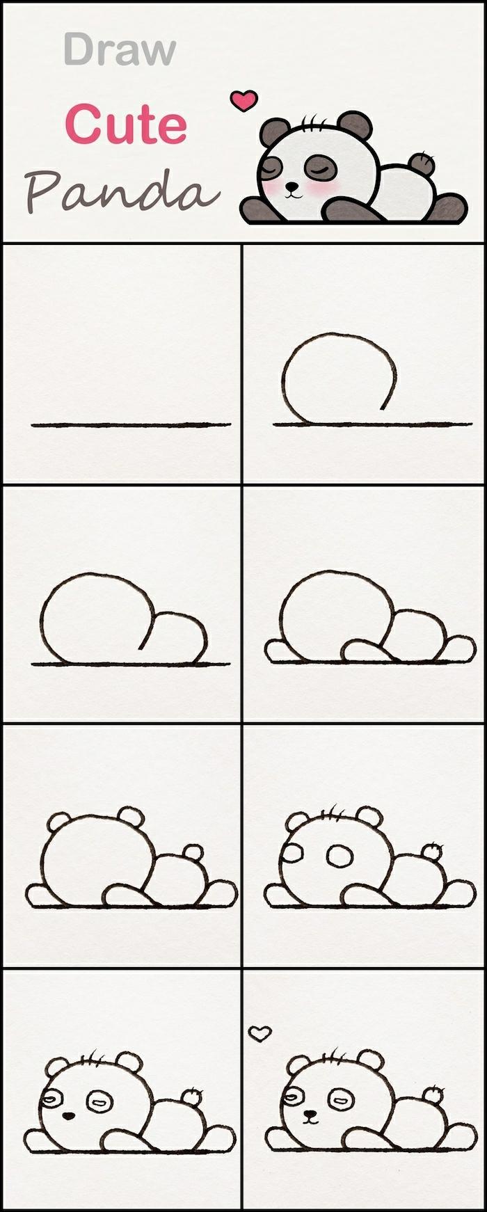 pasos para dibujar una panda pequeña, dibujos kawaii originales paso a paso, como dibujar un animalito tierno en casa