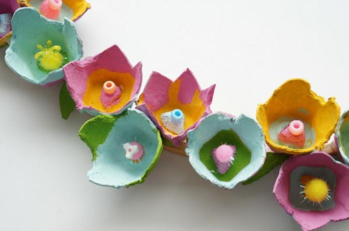 decoracion corona de flores de carton, manualidades en 5 minutos, fotos de manualidades originales paso a paso para hacer en primavera