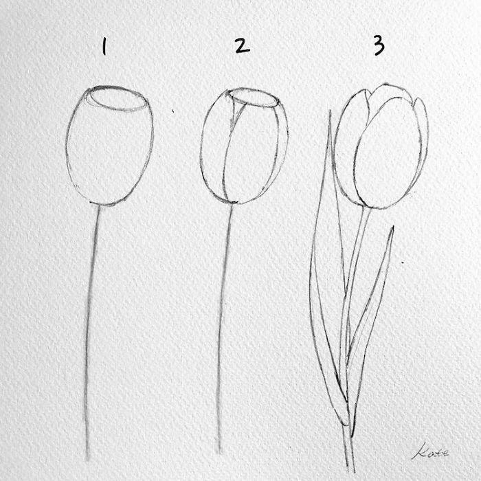 dibujos de flores faciles, dibujos sencilllos en tres pasos, como dibujar flores de primavera, tutoriales originales y bonitos