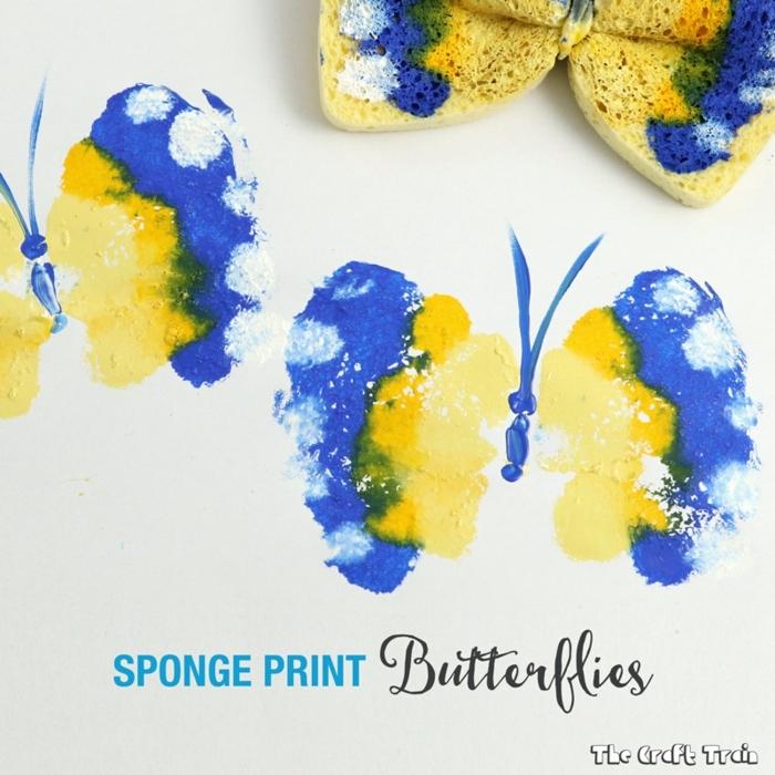 manualidades para hacer en casa originales, como hacer estampados de papas, bonitas mariposas con estampado