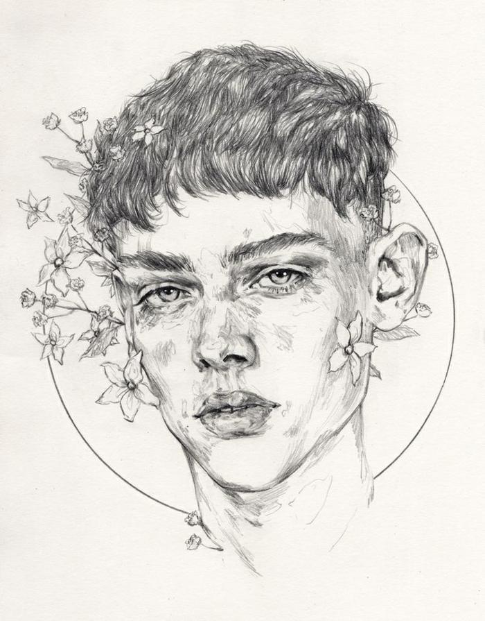 dibujos de personas que impresionan, dibujos tumblr originales hechos a lapiz, cara de niño con elementos flrorales
