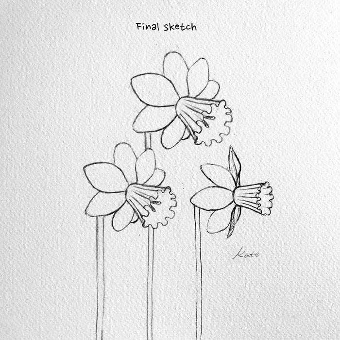 dibujo flor bonito, flores de primavera, como dibujar tlipanes y narcisos originales paso a paso, fotos de dibujs bonitos