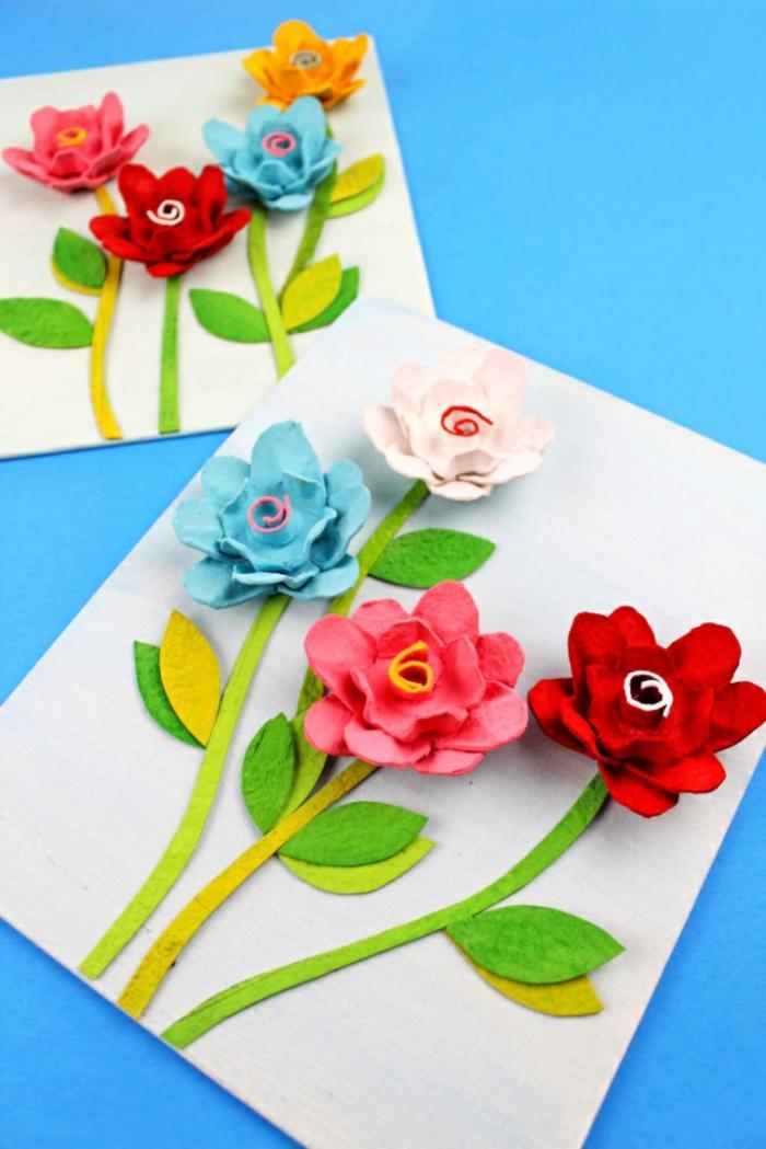 ideas de manualidades para regalar originales, tarjetas originales con flores de carton originales, manualidades faciles primavera