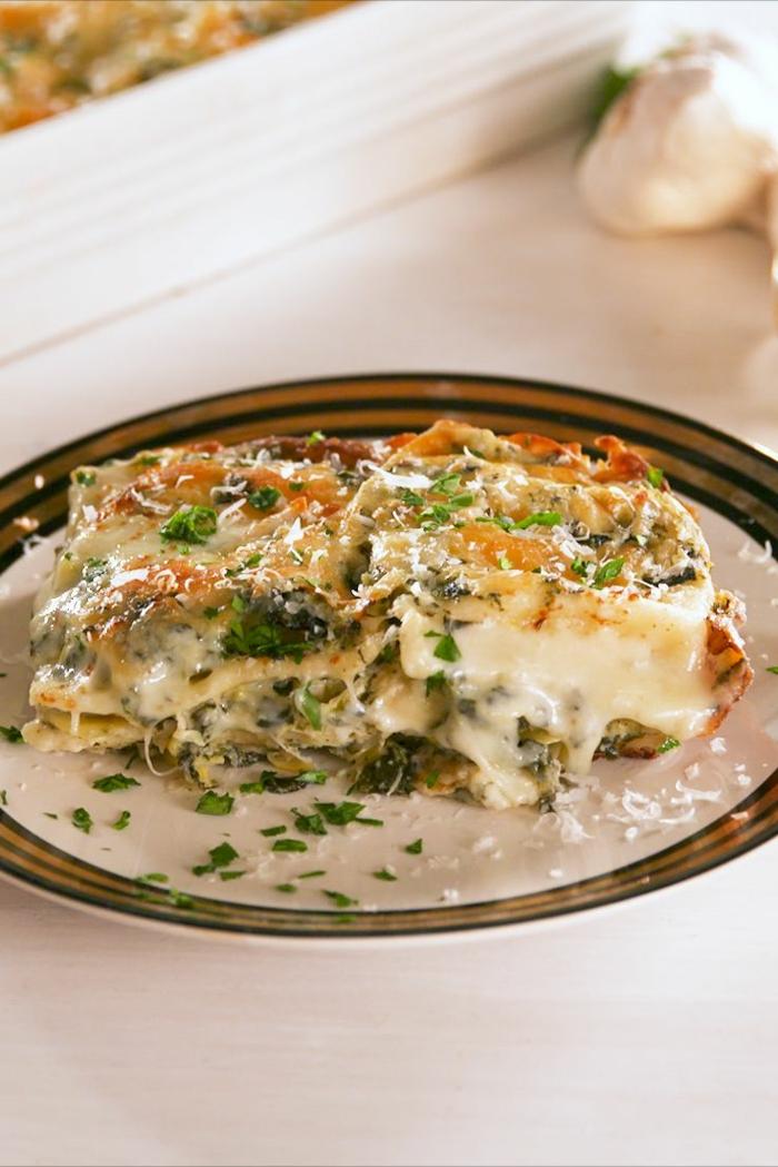 receta de lasaña con espinacas y diferentes quesos, recetas con espinacas y quesos, como hacer lasaña con vegetales rica