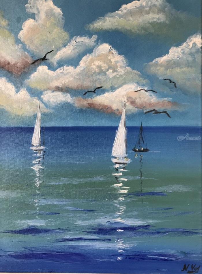 fotos de pinturas de paisajes de naturaleza relajantes, hermoso dibujo con bote en el mar, eves en pleno vuelo y cielo nublado