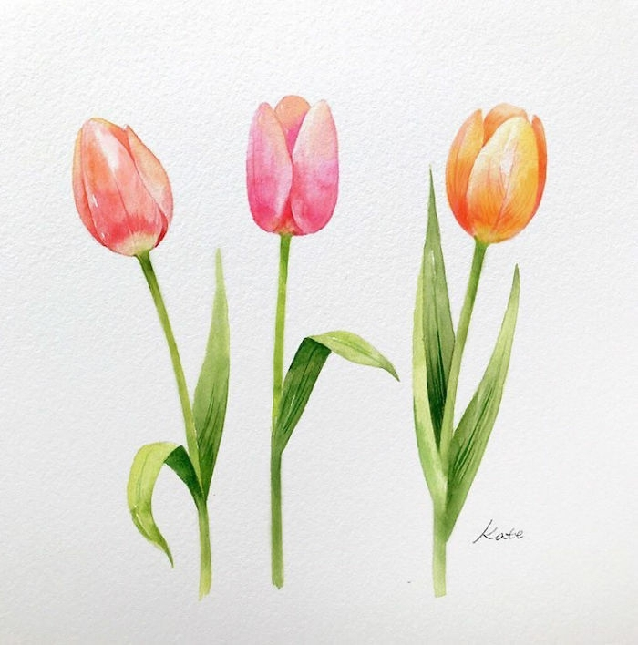 tres bonitos tulipanes dibujados a lapiz en preciosos colores, ideas de dibujos de flores faciles para pequeños y adultos