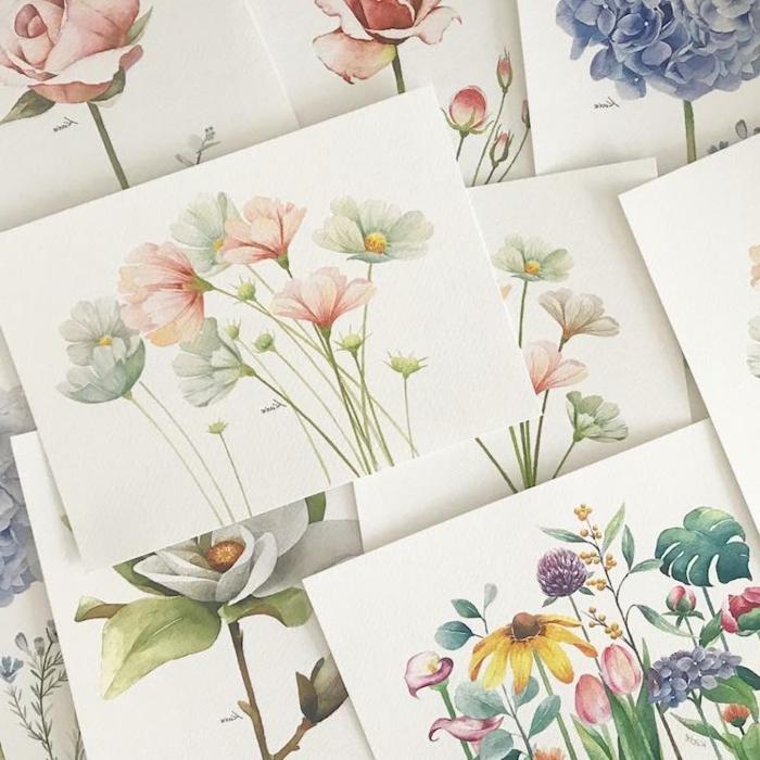 imagenes para dibujar que enamoran, dibujos de flores en estilo vintage en colores pastel, fotos de dibujos originales