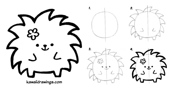dibujos kawaii para pintar, originales ideas de dibujos faciles de hacer, dibujos de animales kawaii, ideas de dibujos originales