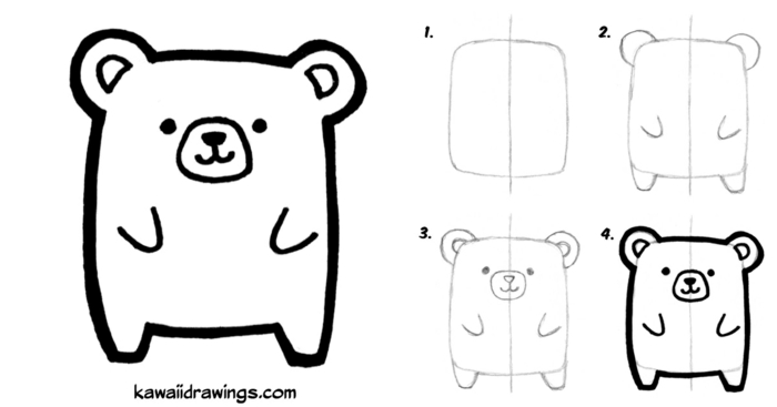 dibujos faciles de hacer, dibujos kawaii para pintar originales, dibujar un oso en cuatro pasos, ideas de dibujos faciles