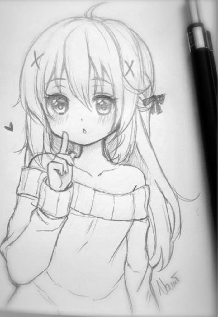 cosas para dibujar faciles, dibujos chicas kawaii, ideas de dibujos de niñas originales, dibujos a lapiz originales y faciles de hacer